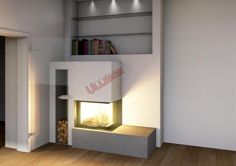 Kamin mit Ecksichtfeuer und Betonverkleidung